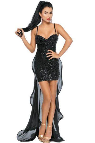 61650157843e Vestito donna Vestitino tubino con paillettes sexy aderente spalline velo  dietro
