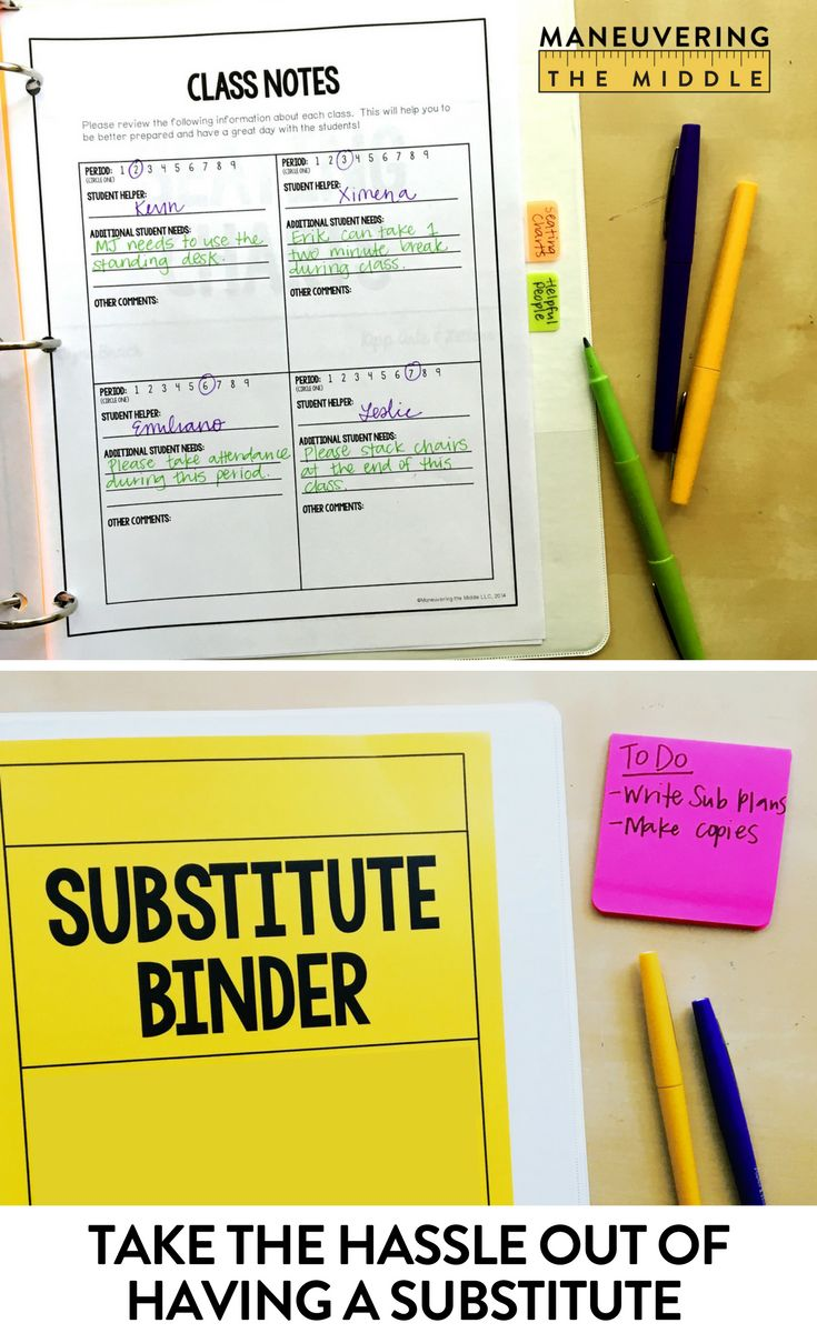 Prepping for a substitute teacher can be so time consuming!  This sub binder is editable, easy to use, and perfect for the secondary teacher.