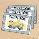 FREE Printable Despicable Me Minions Thank You Cards. It is a high quality design.  I printed this out on card stock and  put it in an envelope. A great card for Minion events alike.