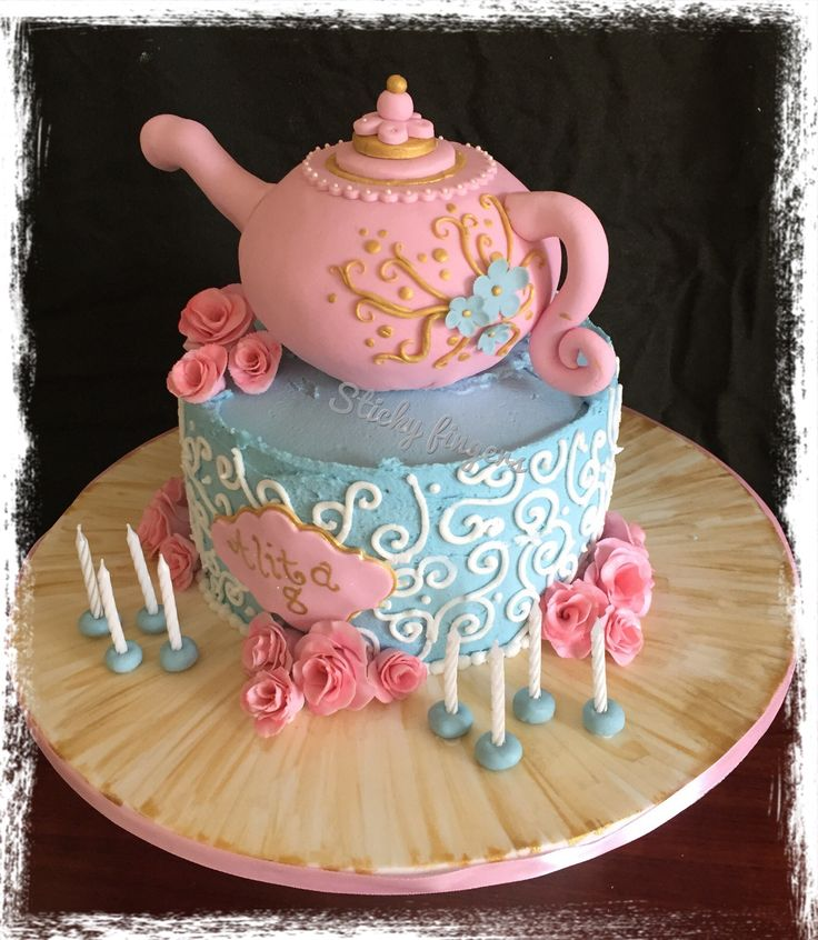 Tea party cake  - tea pot