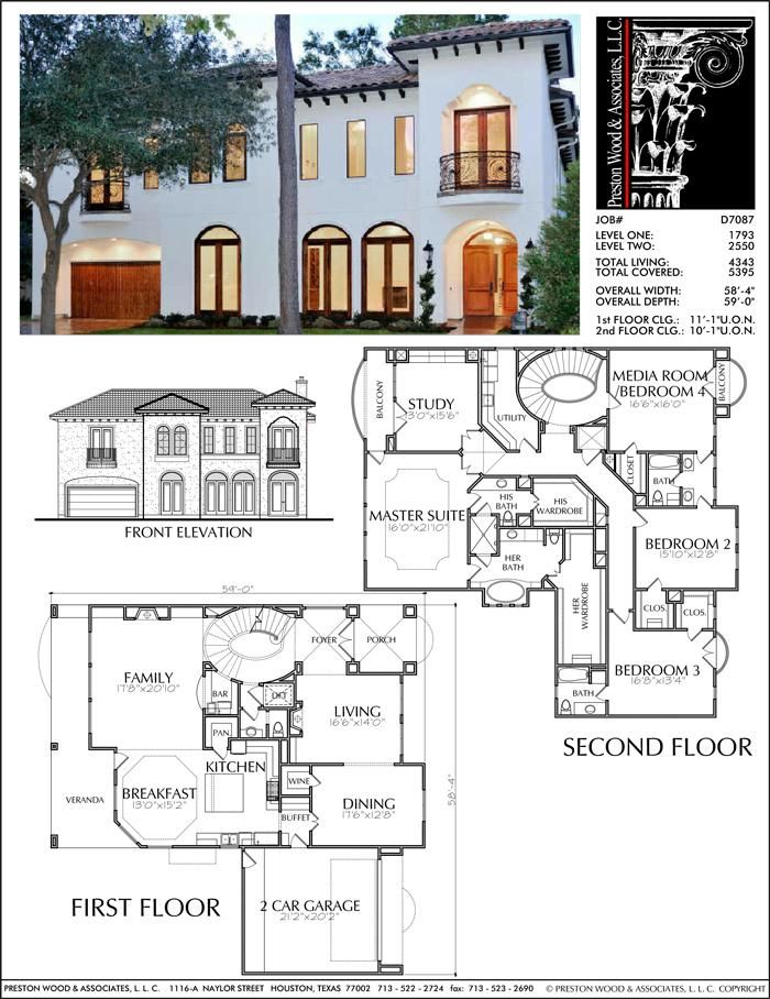 Two Story House Plan D7087 Spanish Style Homes House Blueprints Story House