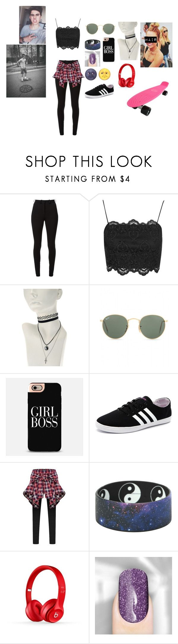 """skate park date with Nash"" by gunknown ❤ liked on Polyvore featuring Victoria Beckham, Topshop, Ray-Ban, BOSS Black, adidas NEO, Beats by Dr. Dre, Retrò, women's clothing, women's fashion and women"