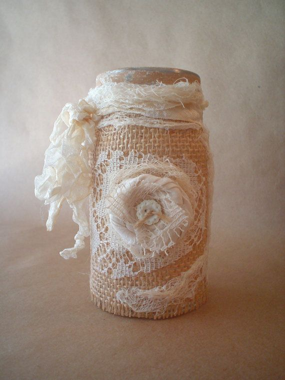Rustic Altered Jar Burlap Lace Bottle Handmade Fabric Rolled Rose
