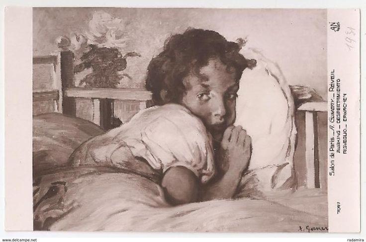 """Carte Postale Ancienne """"RÉVEIL"""" A. GUMERY - -Salon de Paris -France."""