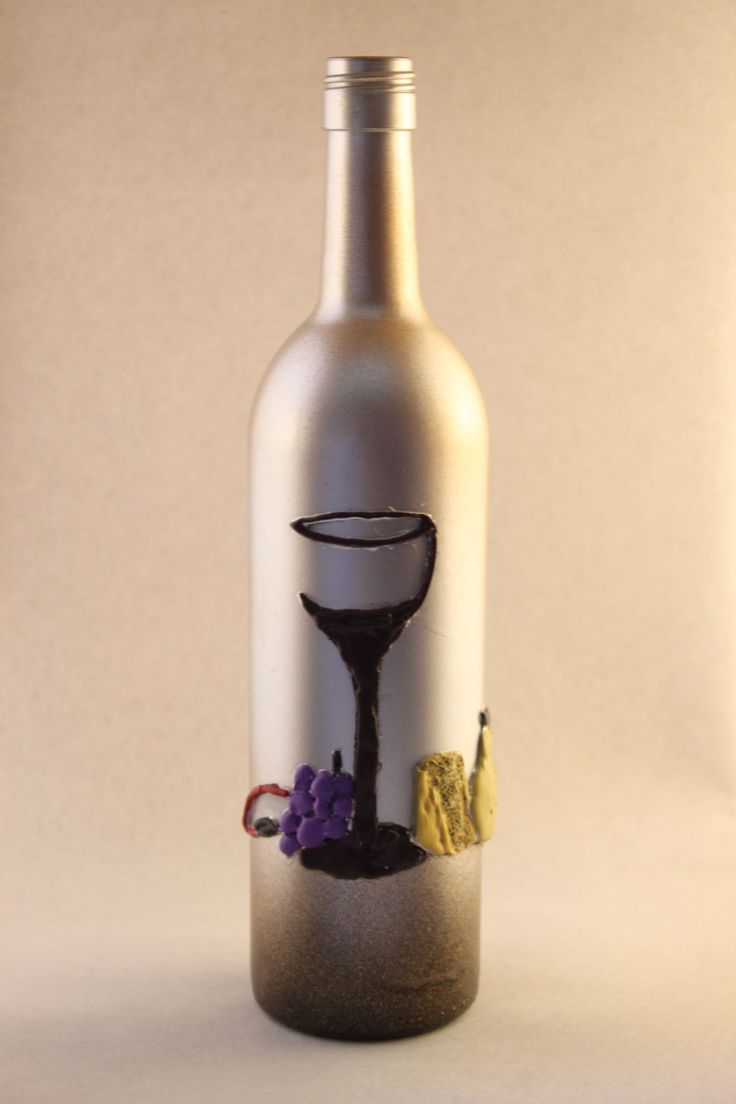 make your wine & hor d'oeurves table complete with this silver and gold dusted, hand painted wine bottle