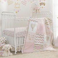 Lambs & Ivy® Baby Love Pink/Gold Heart 4 Piece Crib Bedding Set