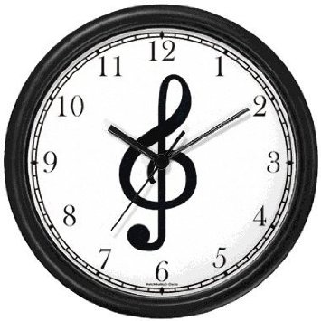 Amazon.com: Treble Clef - Musical or Music Theme - Wall Clock by WatchBuddy Timepieces (Black Frame): Home & Kitchen