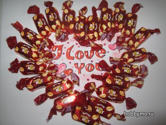 Сладкое сердце из конфет своими руками