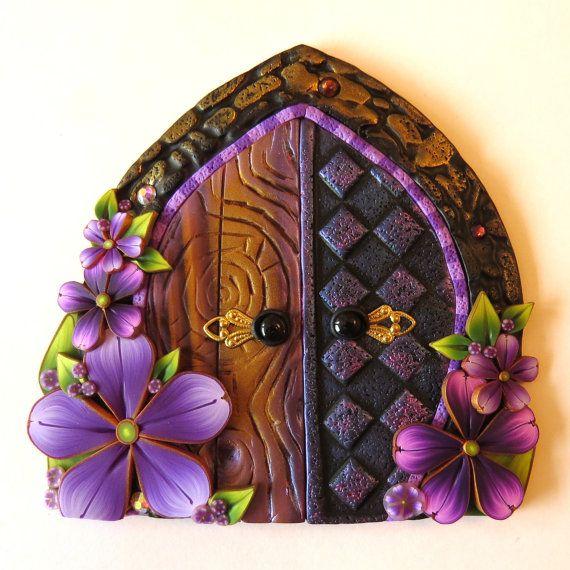 Purple Palace Fairy Door  Pixie Portal Miniature by Claybykim