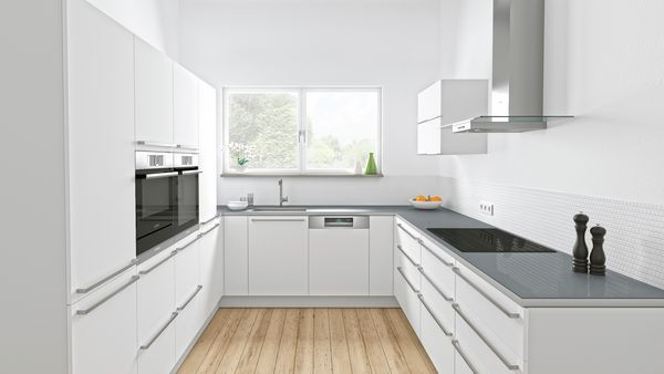 Built-in oven at eye level, Induction cooktop, Wall-mounted canopy rangehood, Built-in bottom mount fridge-freezer, Semi integrated dishwasher 60 cm, Steam oven with warming drawer