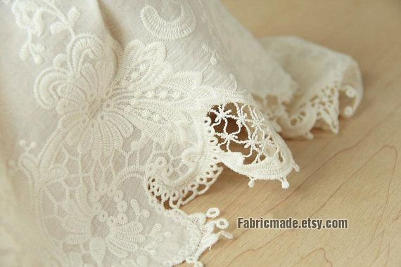 Off white cotton eyelet border fabric lace border by for Border lace glam