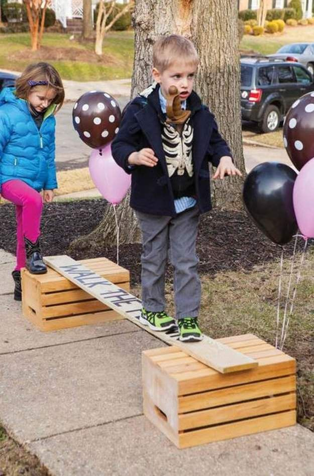Walk the Plank Pirate Party Ideas - love this! Doesnt have to be pirate themed, could set up a whole obstacle course