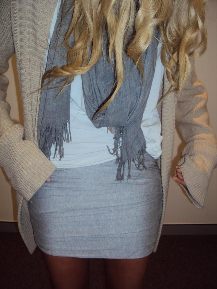 big cardi, t-shirt, scarf and pencil skirt