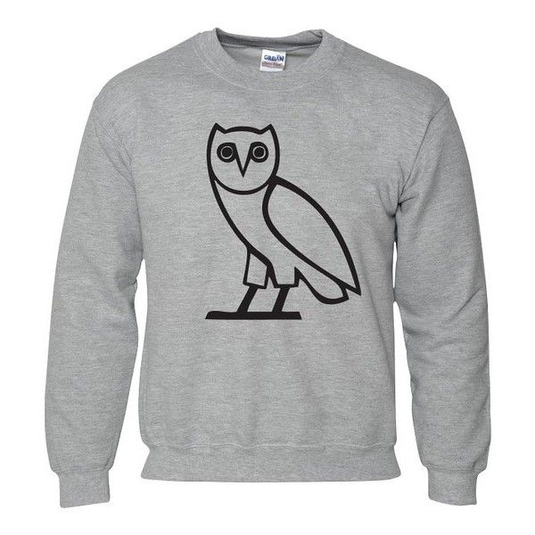 OVO OWL OCTOBERS VERY OWN DRAKE GREY JUMPER SWEATER SWEATSHIRT (Medium... ($21) ❤ liked on Polyvore featuring tops, hoodies, sweatshirts, gray top, grey top, owl sweatshirt, gray sweatshirt and grey sweatshirt