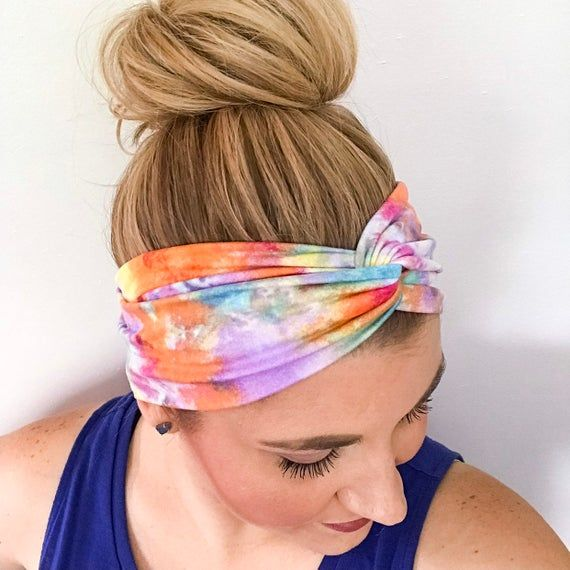 Watercolor Rainbow Tie Dye Turban Headband - Headbands for Women - Boho Headband - Twisted Turban -