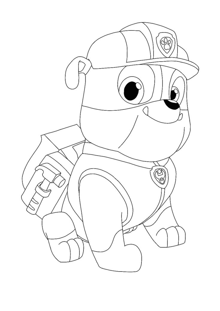 Paw Patrol Rubble coloring page in 2020 | Paw patrol ...
