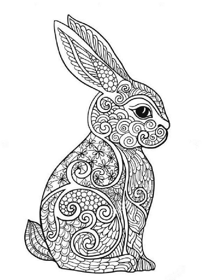 Rabbit Art Therapy Coloring Pages Bunny Coloring Pages Animal Coloring Pages Mandala Coloring Pages