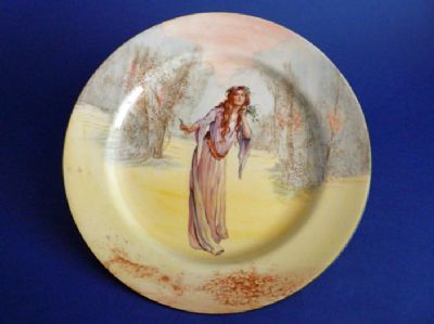 Royal Doulton Shakespearean Characters 'Ophelia' Series Ware Rack Plate D3596 c1915