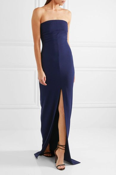 Solace London - Aubrey Strapless Stretch-crepe Gown - Navy