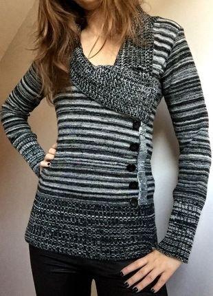 Kup mój przedmiot na #vintedpl http://www.vinted.pl/damska-odziez/dlugie-swetry/11179487-sweterek-zimowy-36-czarno-bialy