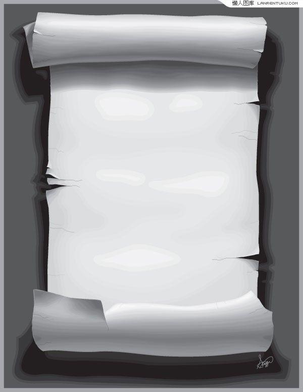 #свиток AI格式古典残破卷轴矢量素材 #采集大赛...