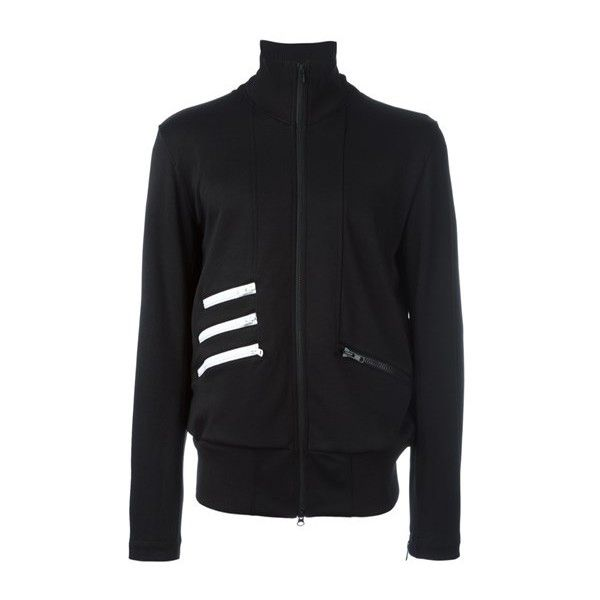 ADIDAS Y-3 Striped Detail Zipped Sweatshirt ($230) ❤ liked on Polyvore featuring men's fashion, men's clothing, men's activewear, men's activewear tops and black