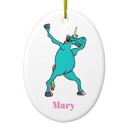 Funny Unicorn Dabbing Dance Ceramic Ornament - horse animal horses riding freedom