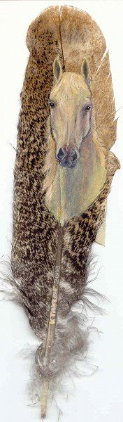 Arab Stallion - Hand Painted Wild Turkey Feather by Karin Taylor