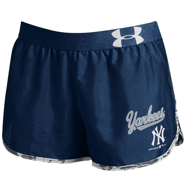New York Yankees Under Armour Women's Tied Up Performance Running Shorts - Navy