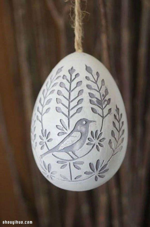 Cáscara de huevo pintadas a mano Hermosa talla de obras hechas a mano DIY del arte - www.shouyihuo.com
