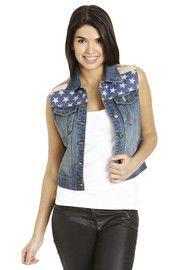 Brave Soul Americana Sleeveless Denim Jacket