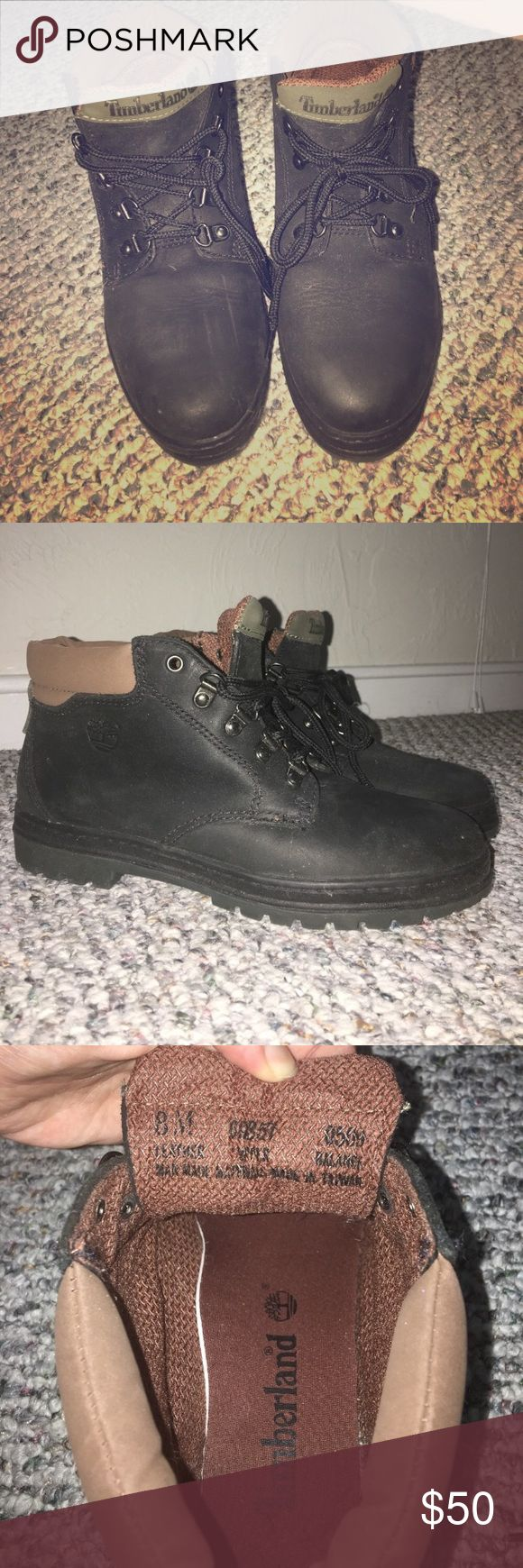 Timberland hiking boots Black Timberland hiking boots in size 8. Run a tad bit small, so would better fit a 7.5. Excellent condition Timberland Shoes Lace Up Boots