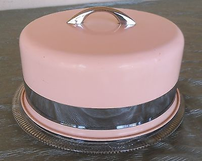 VINTAGE CAKE CARRIER PLATE, PINK METAL COVER AND CUT GLASS PLATE