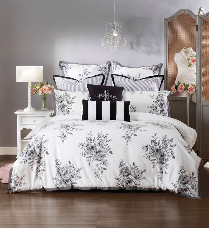 Bring a touch of elegance to your boudoir with this stunning provincial design.  Large floral bouquets pop on a crisp white background creating a classical look that will not date. Printed on luxuriously soft cotton sateen and finished with a flat trim edge in charcoal, Portia is definitely a quilt cover you will love waking up in.