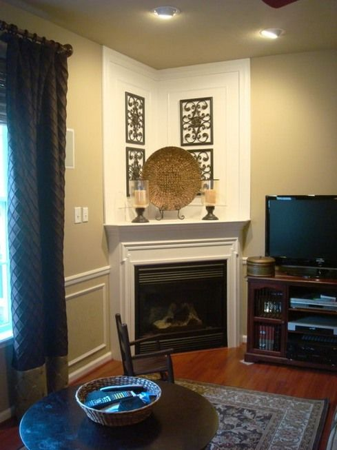White Corner Fireplace Decorating Ideas With Candles Straw