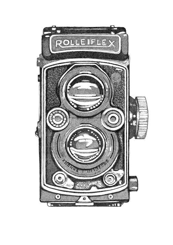 Rolleiflex camera Printable illustration for interior di INKSdecor