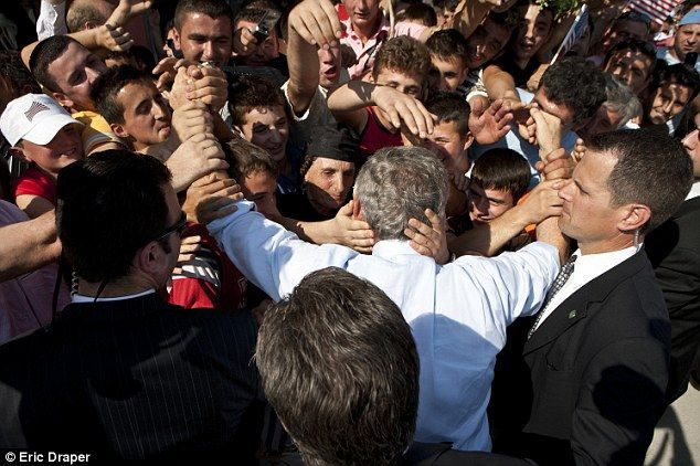 The crowd that rushes to touch George W Bush #Albania 2007