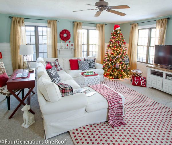 Gorgeous Christmas Home Tour 2014 {part 1 | Christmas living rooms, Red christmas and Living rooms