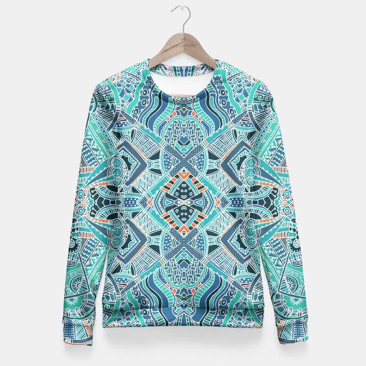 Trendy Colorful Ethno Design Taillierte Sweatshirt, Live Heroes