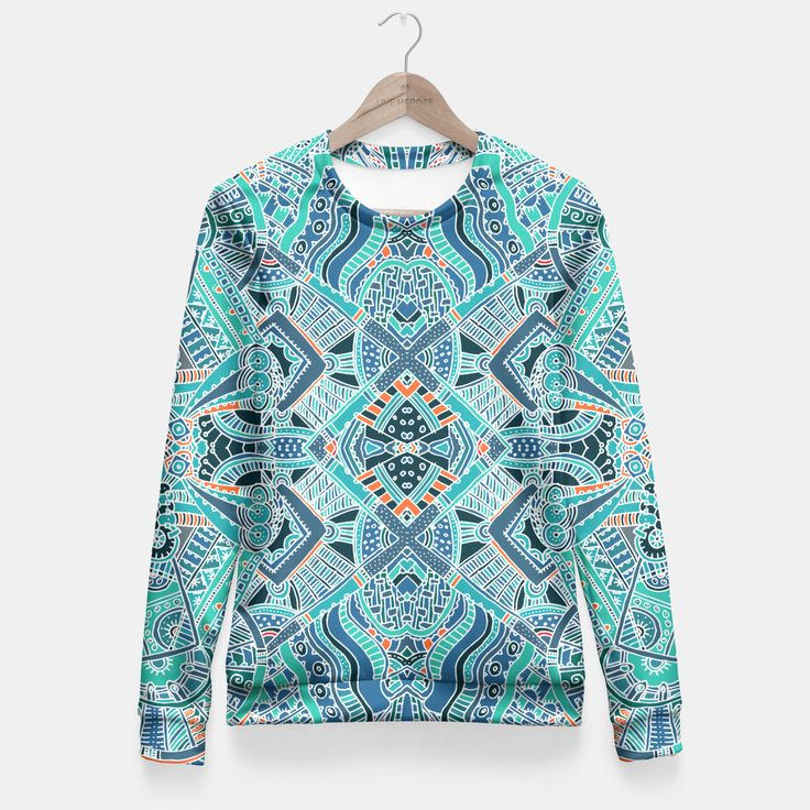 Trendy Colorful Ethno Design Taillierte Sweatshirt, Live Heroes