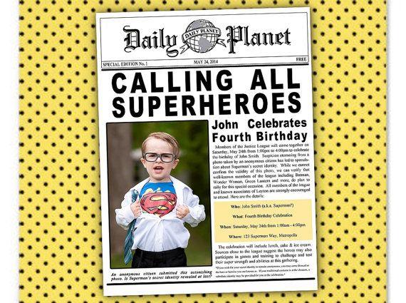 Superman Batman Superhero Justice League Birthday Newspaper