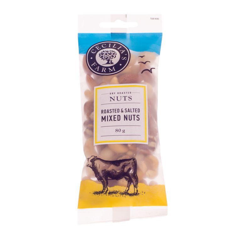 Using a traditional Middle Eastern method, our nuts are slow roasted in a bed of course salt to preserve their natural flavour and texture. Our mixed roasted and salted nuts include cashews, almonds, macadamias, and pecan nuts, making for a wonderful mixture of great nut tastes from around the world. http://ceciliasfarm.co.za/product/roasted-salted-mixed-nuts-2/