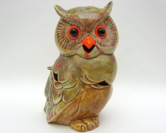 vintage ceramic owl tea light holder