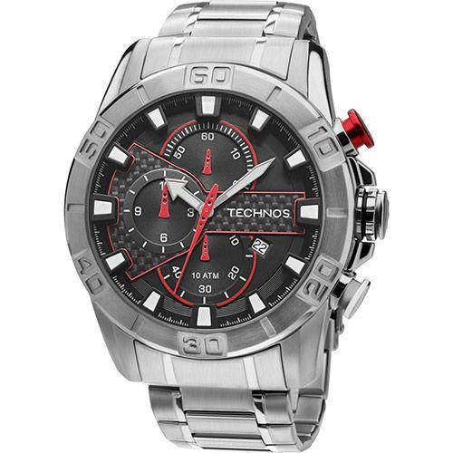 Relógio Technos Masculino Social Prata com Vermelho - OS10EA/1R