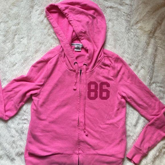 Victoria's Secret PINK zip up hooded sweatshirt PINK zip front hooded sweatshirt. XS. 86 on front, PINK on back. Victoria's Secret Tops Sweatshirts & Hoodies