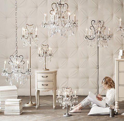 Chandelier Floor Lamp At Rh Baby Child Manor Court Crystal Aged Pewter