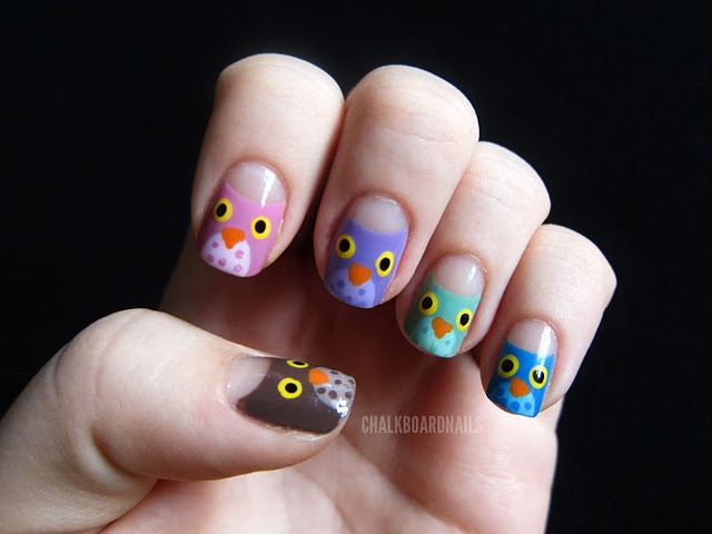 Owls!!: Owl Manicures, Little Owl, Chalkboards Nails, Nails Ideas, Nails Polish, Owl Nails Art, Cute Owl, 31 Day Challenges, Fingers Puppets