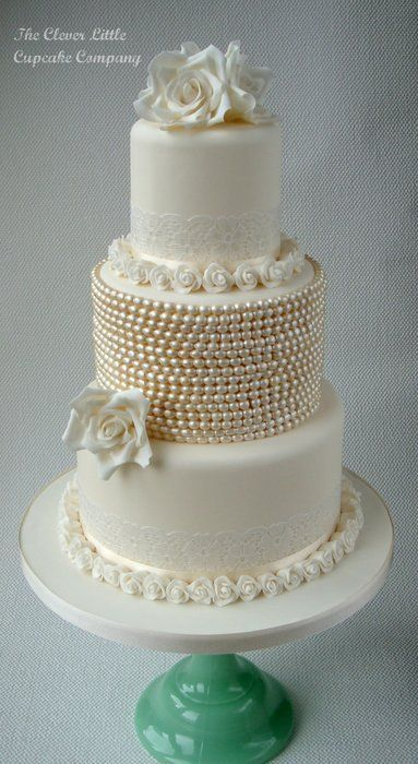 lace and pearl wedding cakes | Vintage Lace and Pearl Wedding Cake - by CleverLittleCupcake ...