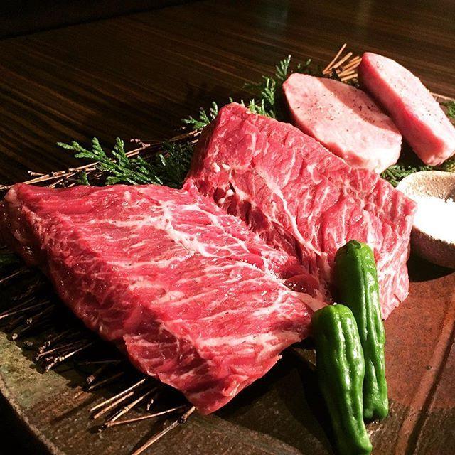 夏バテ防止策  #ハラミステーキ #牛タンステーキ #ステーキはレア #赤坂 #牛の蔵 #焼酎 #beef #steak #foodie #tokyo #牛 #肉