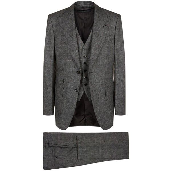 TOM FORD Windsor 3-Piece Suit ($5,500) ❤ liked on Polyvore featuring men's fashion, men's clothing, men's suits, mens 3 piece suits, mens three piece suit, tom ford mens clothing, mens peak lapel suits and tom ford mens suits